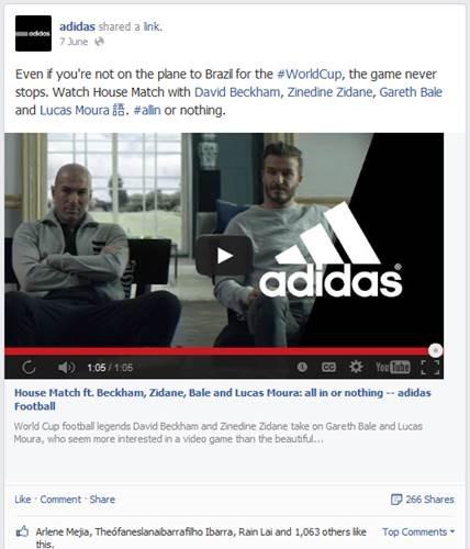 screenshot of adidas facebook post