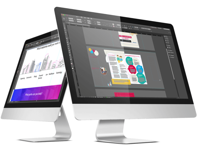 Mac monitor displaying creative editing work
