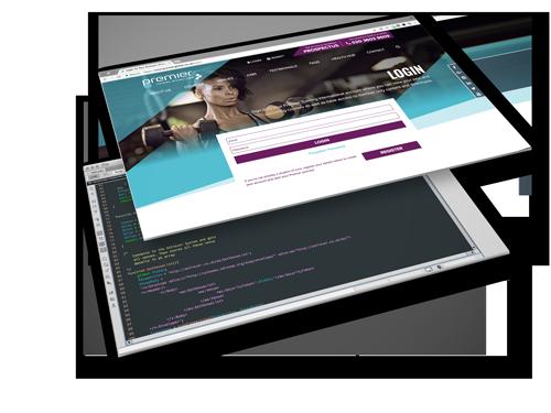 screenshots of website code and website