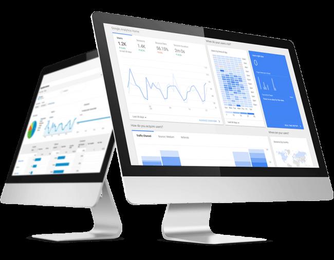 Mac monitor displaying website analytics