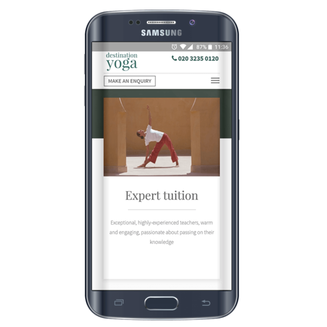 Responsive mobile ad showcased on black Samsung smartphone.