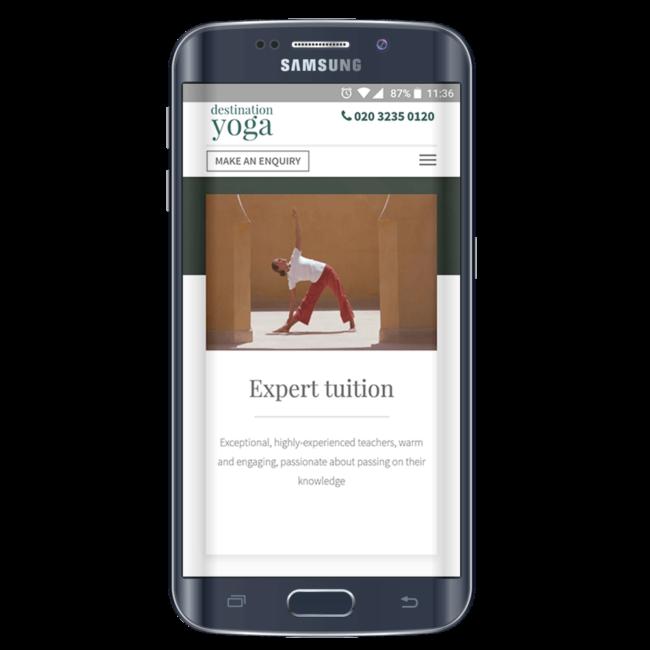 Responsive mobile ad showcased on black Samsung smartphone.