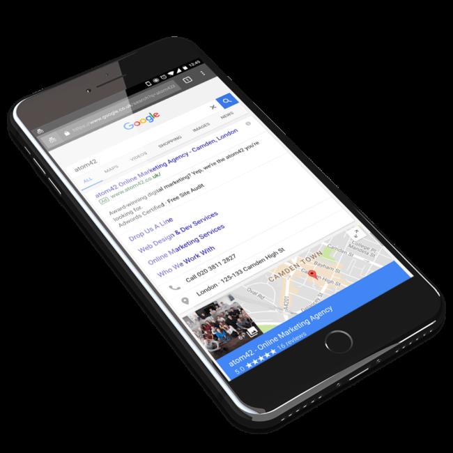 mobile marketing demonstration on Google SERP on black iPhone.