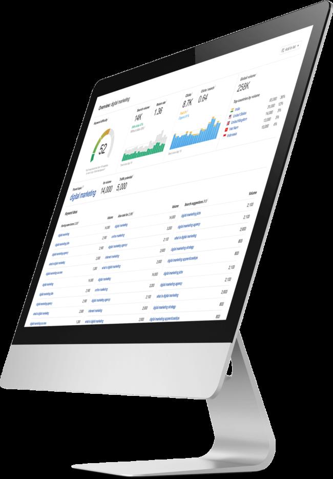 mac monitor at side angle showcasing keyword analysis