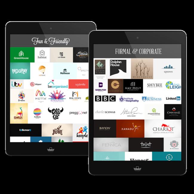 two black iPads showcasing multiple brand logos.