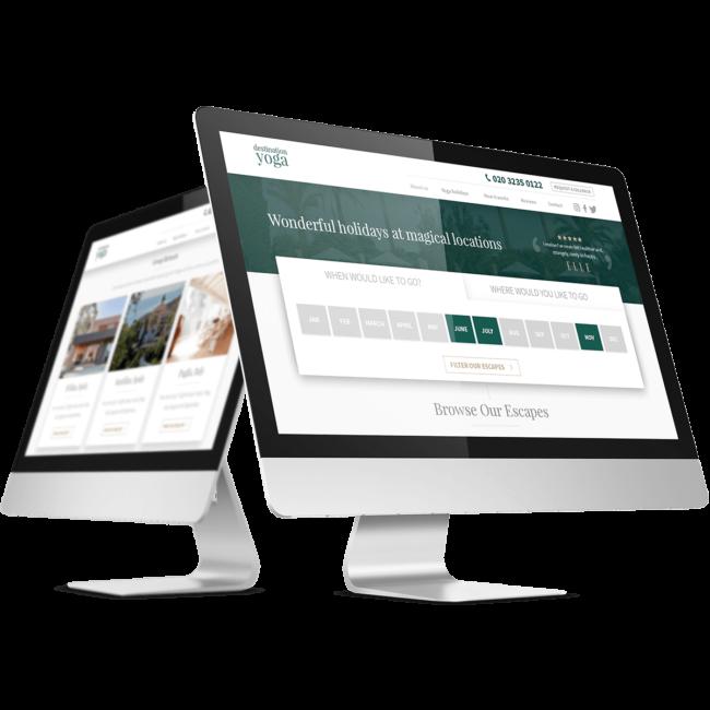 Computer monitors showcasing our expert web design capabilities.