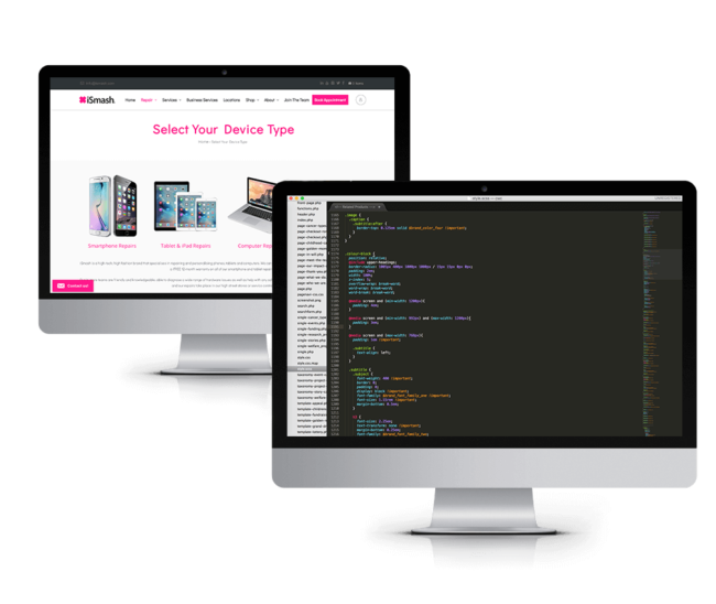 monitors displaying html coding work and their effects on webpage