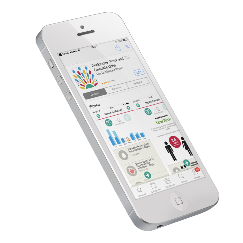 white iphone 5 displaying drinkaware app in the apple app store