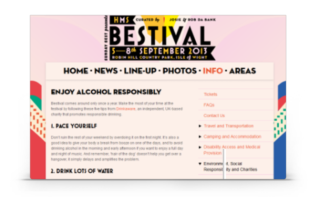 bestival web page - showcase of how atom42 developed relevant partnerships to help publicise drinkaware.