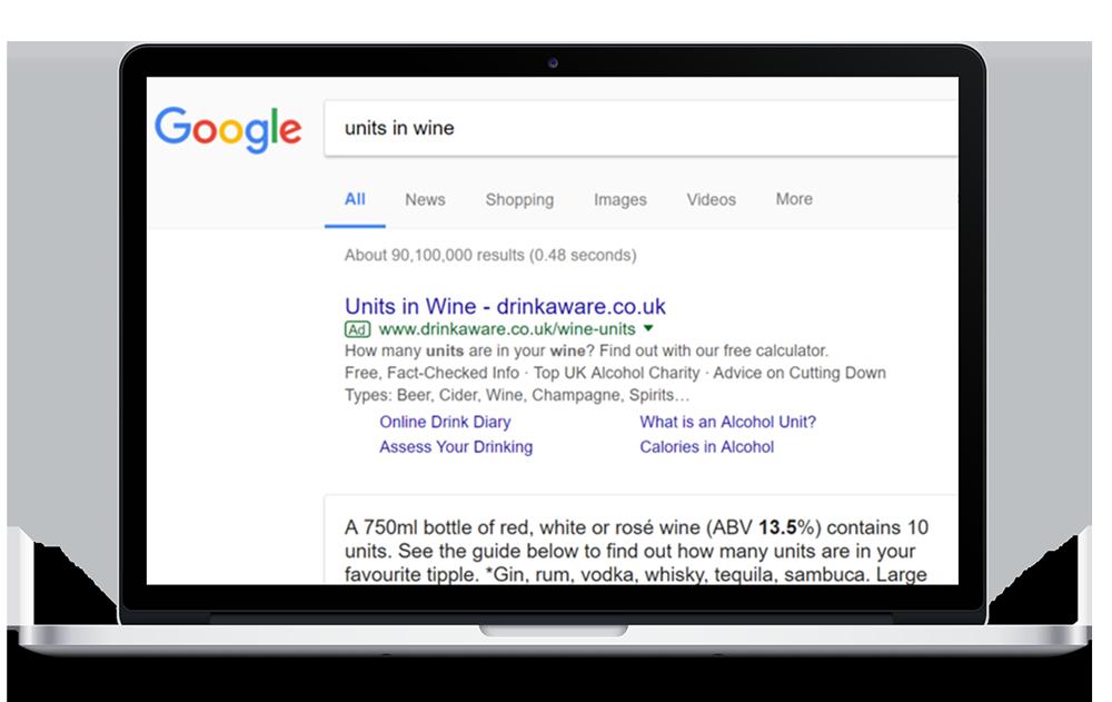Laptop showcasing atom42's PPC ads for drinkaware on google SERP