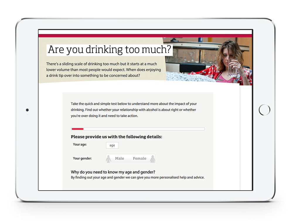 tablet displaying newly modified drinkaware site by atom42 (modifications of which were informed by data and research)