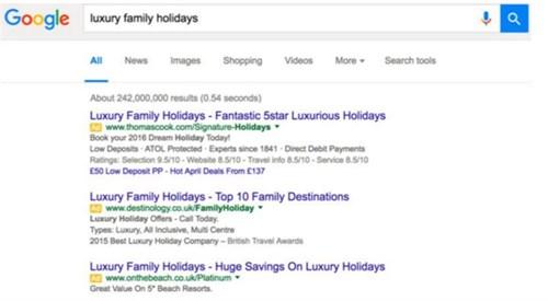 screenshot of top 3 PPC results in Google SERP