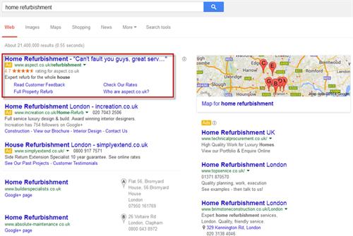 google SERP for 'home refurbishment'