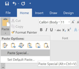 Paste Special selection for dynamic reporting