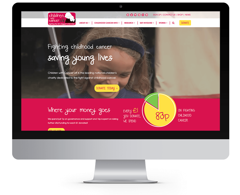 Children with cancer new site design showcased on monitor.