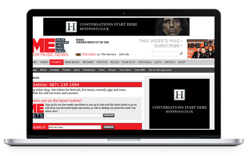 Laptop screen showcasing atom42's advertising activity for Huffington Post on the NME website.