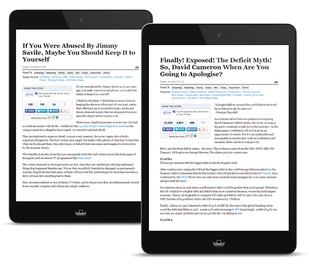 Tablet devices showcasing atom42's native advertising activity for Huffington Post UK