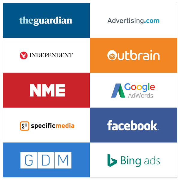 Image showcasing the different platforms and placements which we utilised for our Award Winning digital campaign.