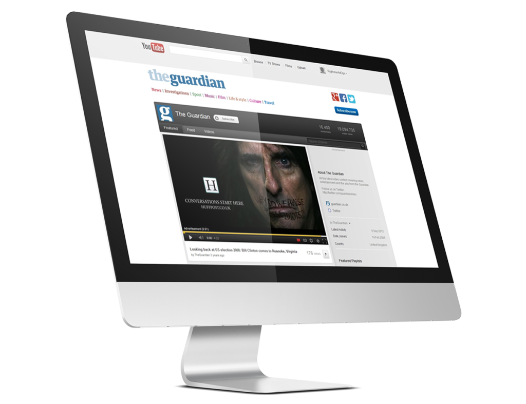 Mac monitor showcasing atom42's advertising activity for Huffington Post UK on The Guardian website.