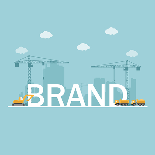 A vector image of cranes building a brand building