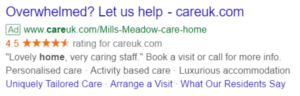 Google PPC ad for Care UK