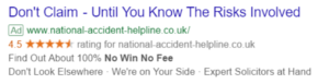 Google PPC ad for national accident helpline
