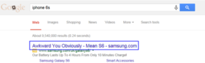 Google SERP top placement for iPhone query