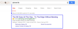 google SERP for 'iPhone 6S'