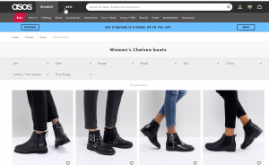 Asos new page for Chelsea boots showing a carousel view of products