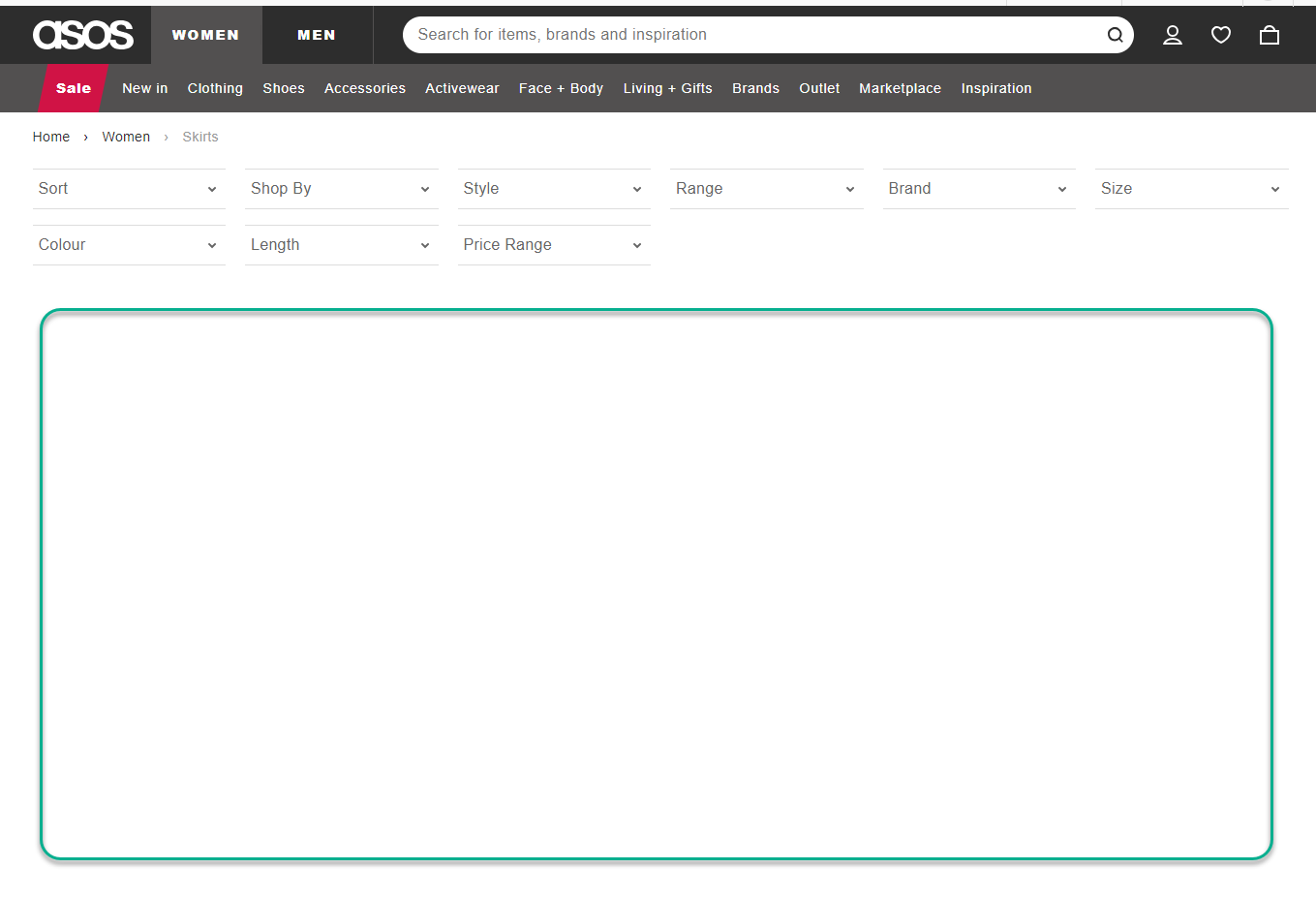 A screenshot of the empty cached space on the ASOS site