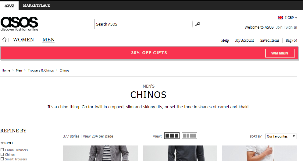 A screenshot of the asos mens chinos page