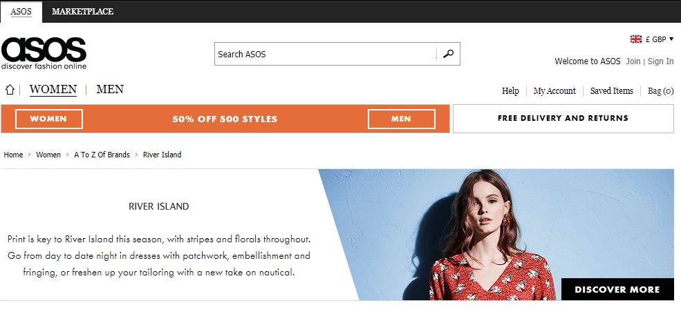 A screenshot of the old ASOS brand page
