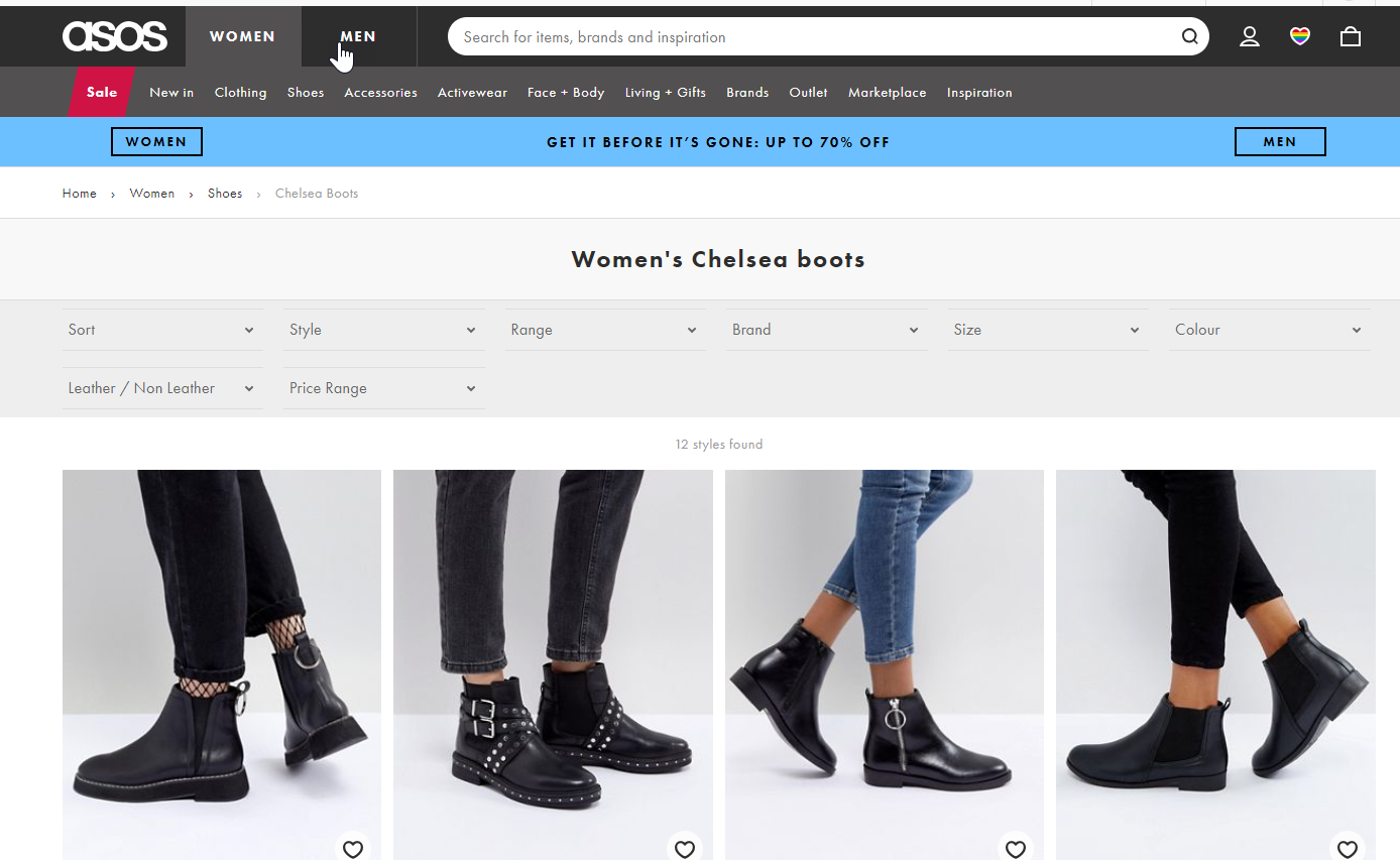 A screenshot of the womens chelsea boots page on ASOS