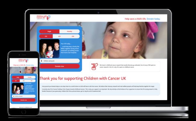 Children with Cancer website design on desktop and mobile