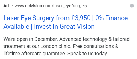 PPC advert created by atom42 for our client, OCL Vision