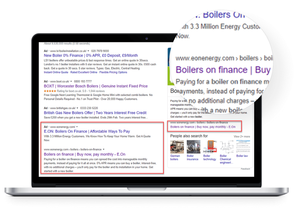 google SERP for boilers search