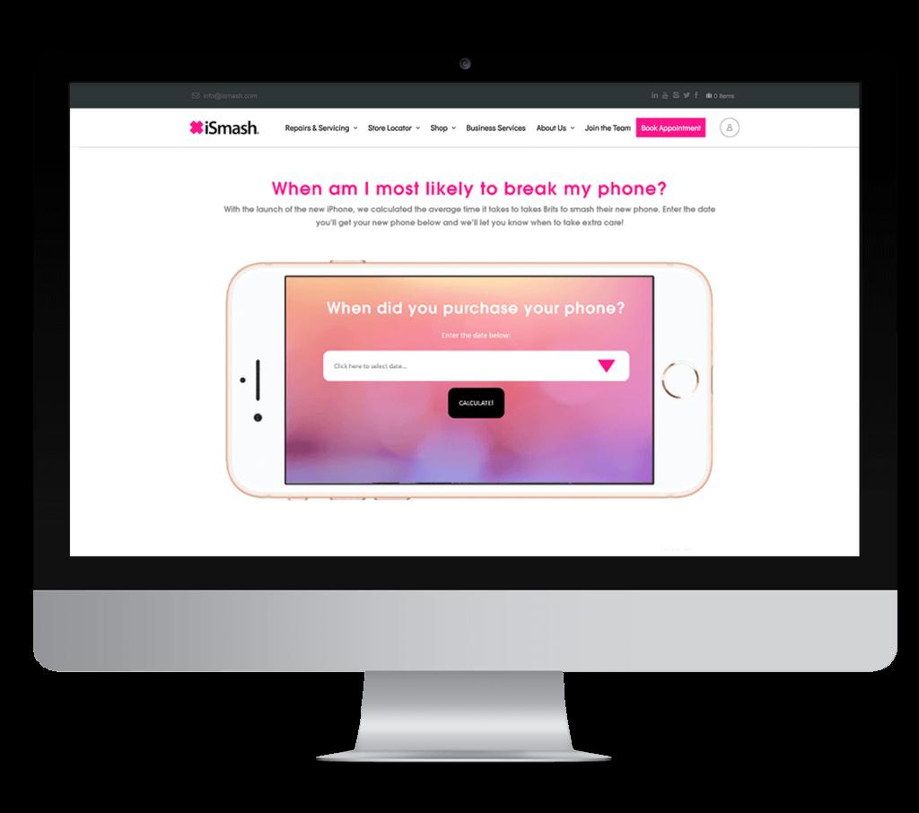 mac monitor displaying iSmash improved website