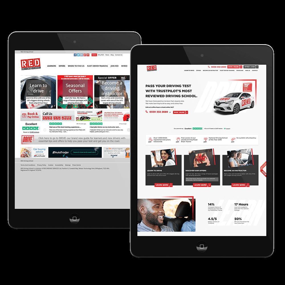 RED Driving School website design old versus new