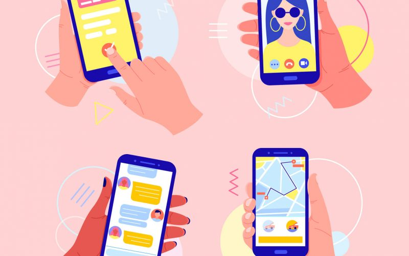 illustration of hands holding smartphones