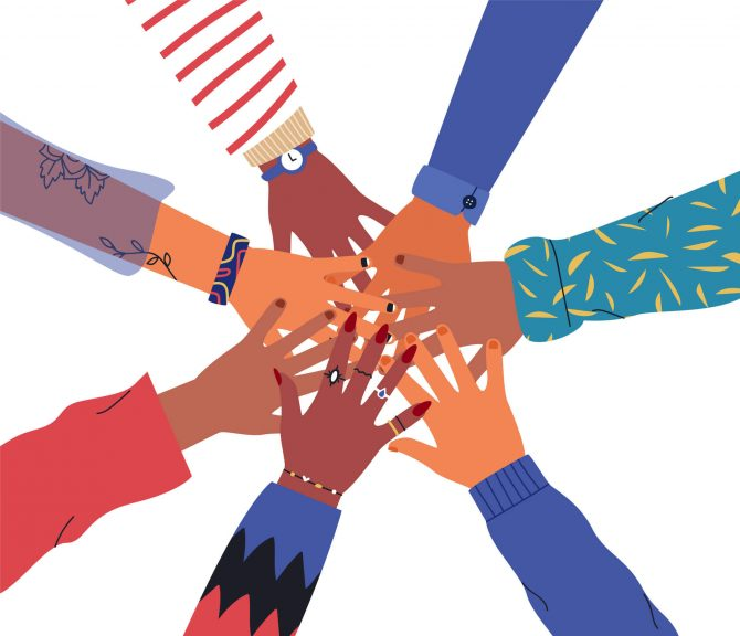 Isolated friends or people hand circle concept